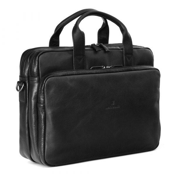 Pánská kožená taška přes rameno Hexagona 129479 – černá