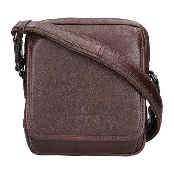 Pánská kožená taška přes rameno Hexagona 129898 – tmavě hnědá