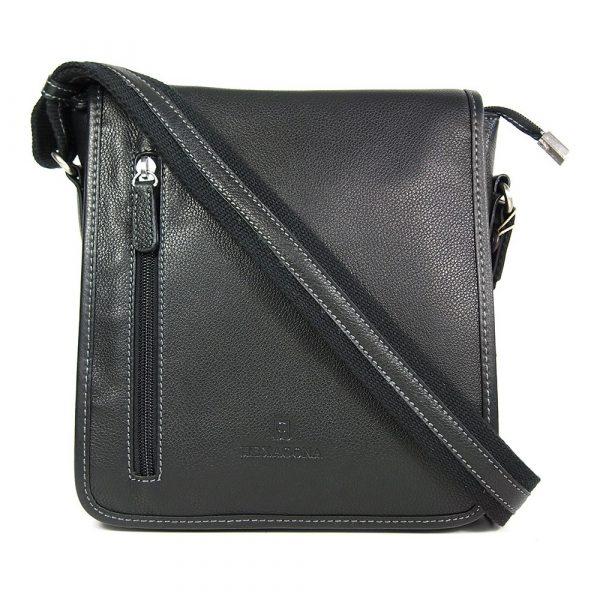 Pánská kožená taška přes rameno Hexagona 461326 – černá