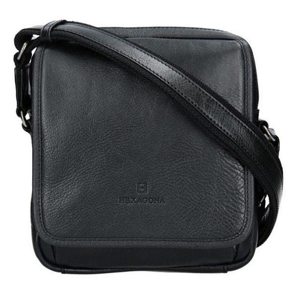 Pánská kožená taška přes rameno Hexagona 129898 – černá