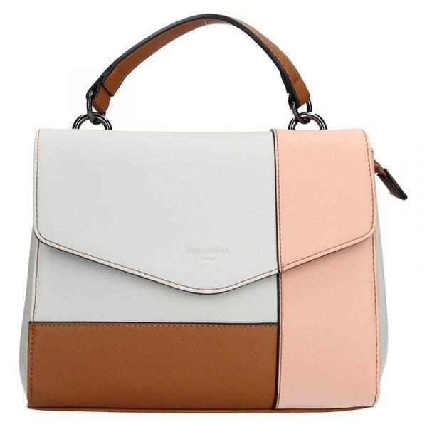 Dámská kabelka Hexagona 505237 – bílo-růžová