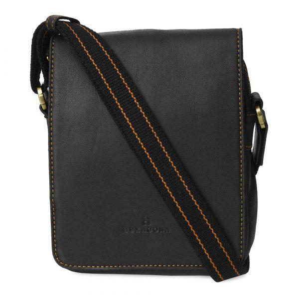 Pánská kožená taška přes rameno Hexagona 154191 – černá
