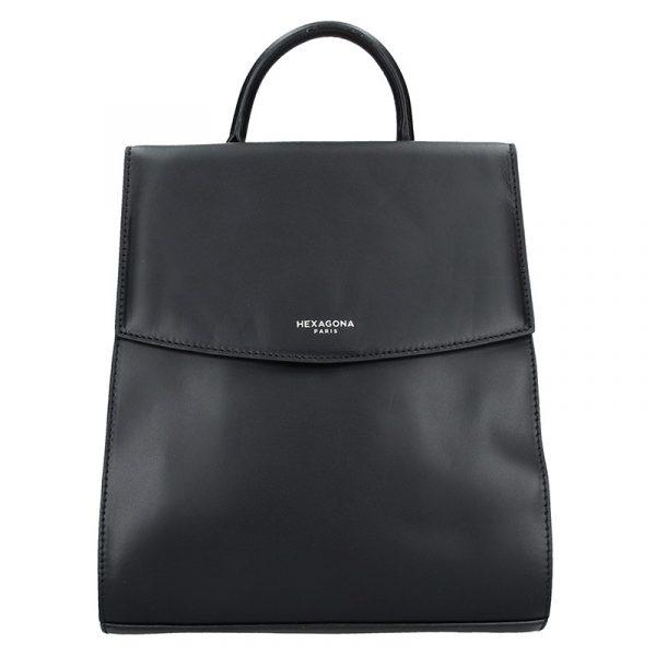Elegantní kožený dámský batoh Hexagona Parres – černá