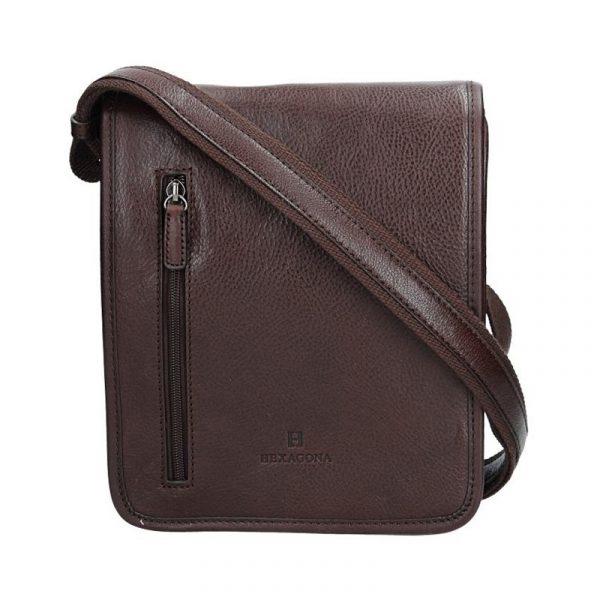 Pánská kožená taška přes rameno Hexagona 129483 – tmavě hnědá de7d5349360