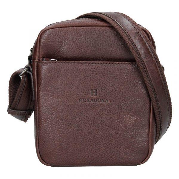 Pánská kožená taška přes rameno Hexagona Mauro – tmavě hnědá