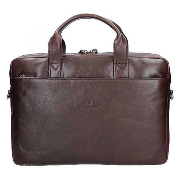 Pánská kožená taška přes rameno Hexagona Arles – tmavě hnědá