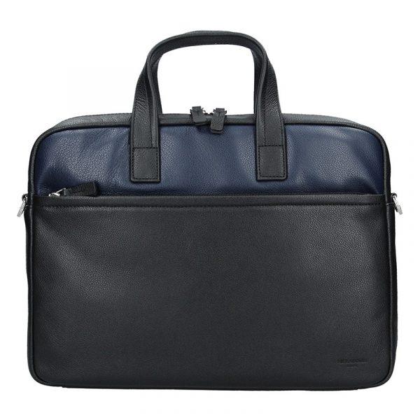 Pánská kožená taška přes rameno Hexagona Amarel – černo-modrá