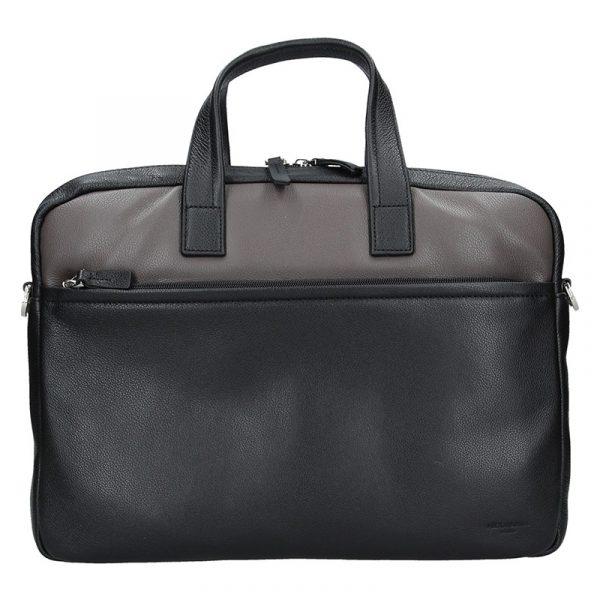 Pánská kožená taška přes rameno Hexagona Amarel – černo-hnědá