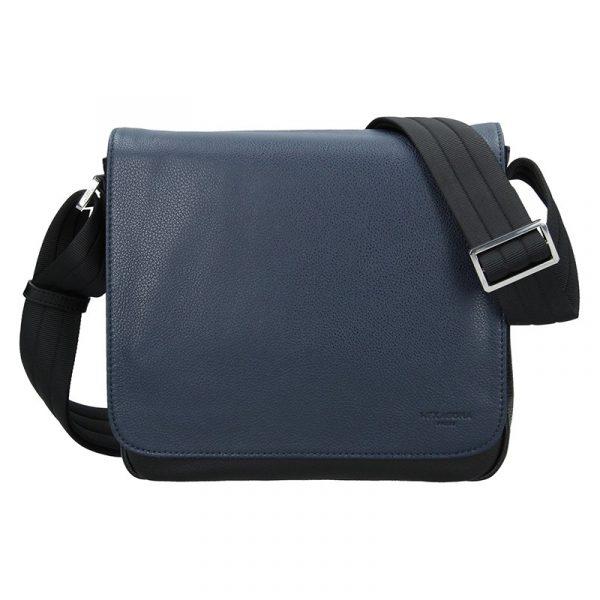 Pánská kožená taška přes rameno Hexagona Leopold – modro-černá