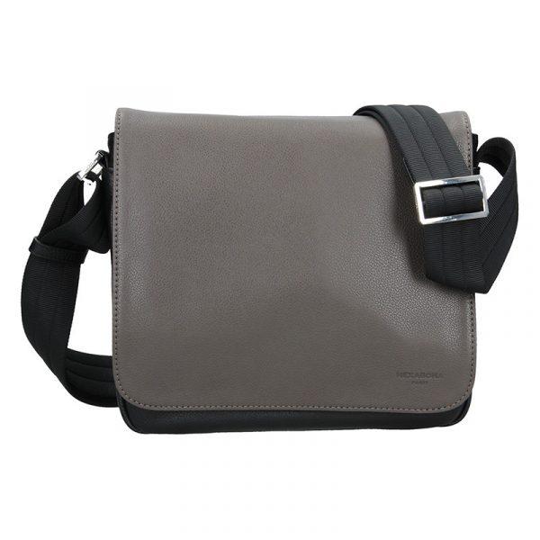 Pánská kožená taška přes rameno Hexagona Leopold – černo-hnědá