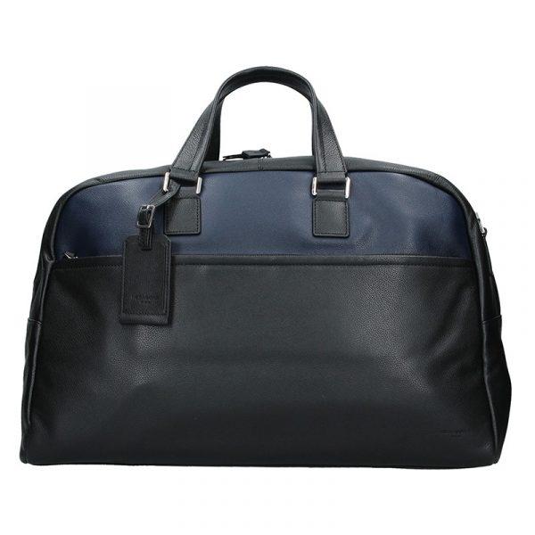 Pánská celokožená cestovní taška Hexagona Tobias – černo-modrá