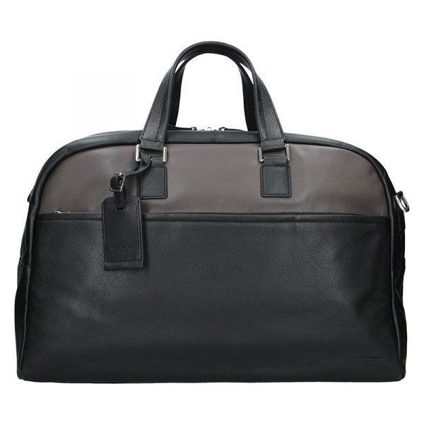 Pánská celokožená cestovní taška Hexagona Tobias – černo-hnědá