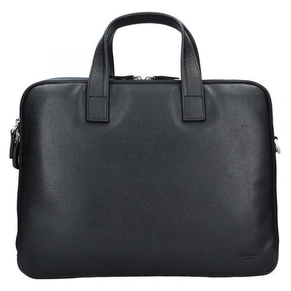 Pánská kožená taška přes rameno Hexagona Nicolas – černo-modrá
