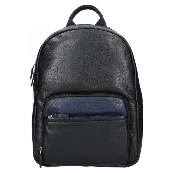 Pánský kožený batoh Hexagona Lion – černo-modrá