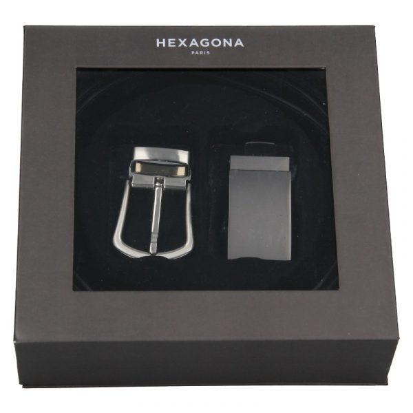 Pánský kožený opasek Hexagona Marcus – černá