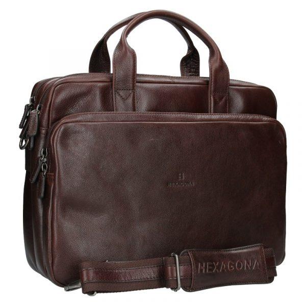 Pánská kožená taška přes rameno Hexagona Geraldo – hnědá