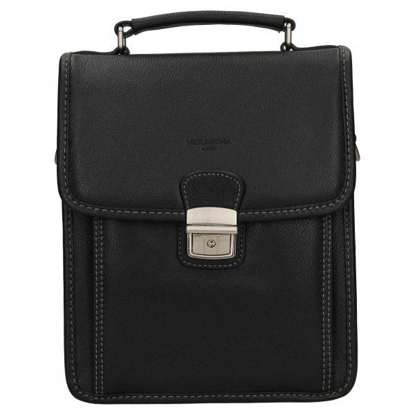 Pánská kožená taška přes rameno Hexagona Alnes – černá